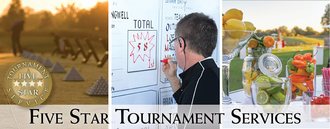 A collage depicting the following three scenes: Driving range and RedTail Golf Club, a man writes on a tournament scoreboard, and a bar setup for a tournament